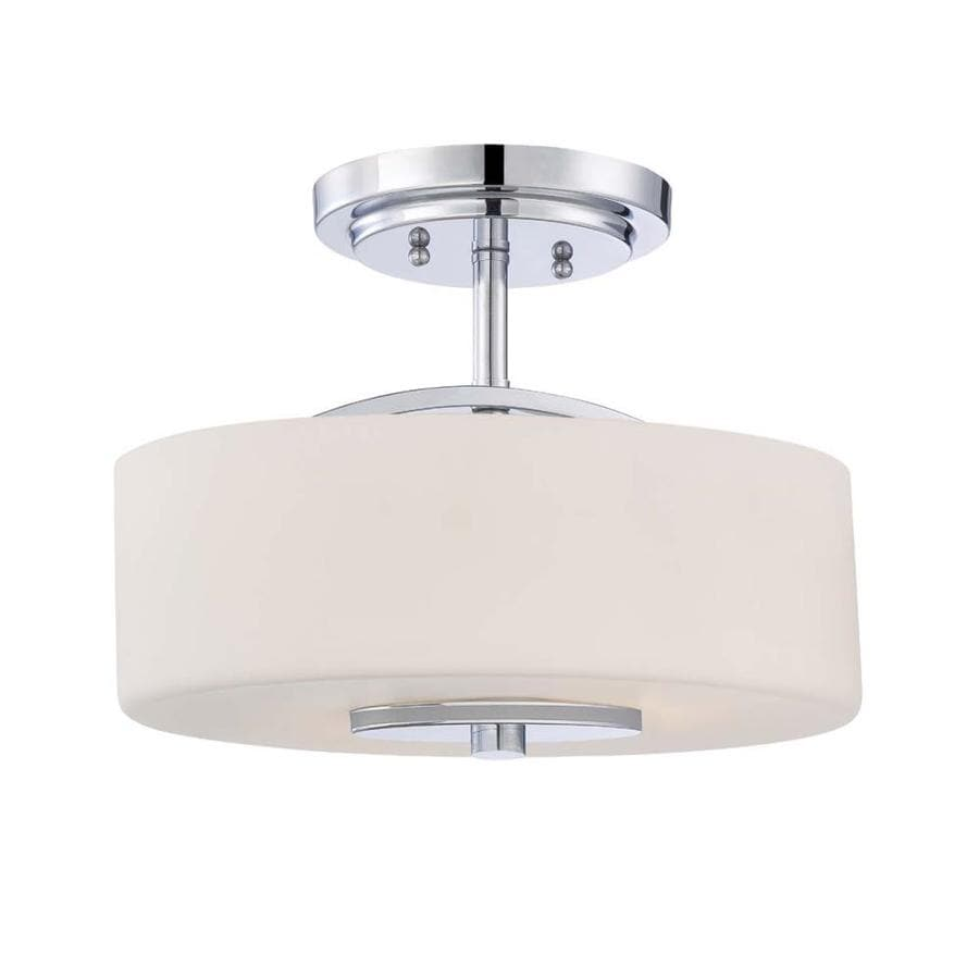 Skelter 13.94-in W Polished Chrome Etched Glass Semi-Flush Mount Light