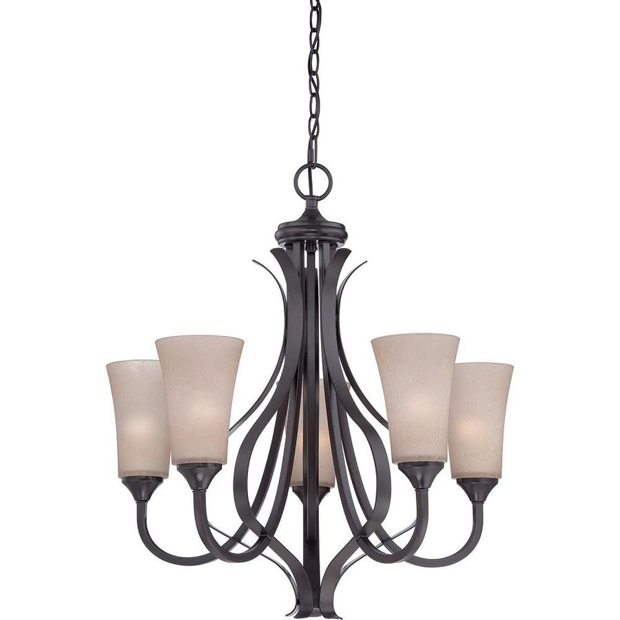Sable 25.5-in 5-Light Architectural Bronze Candle Chandelier