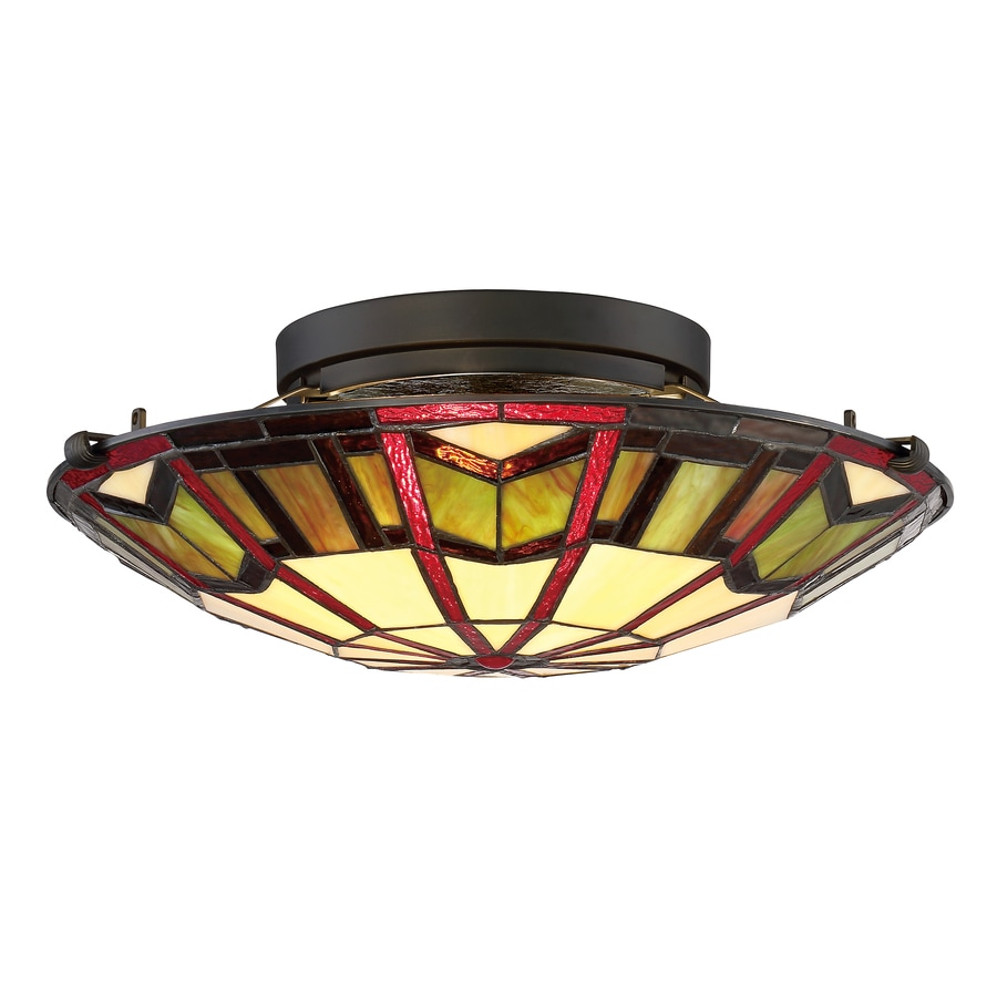 allen + roth Ascension Ridge 16.5-in W Antique Bronze Tiffany-Style Flush Mount Light
