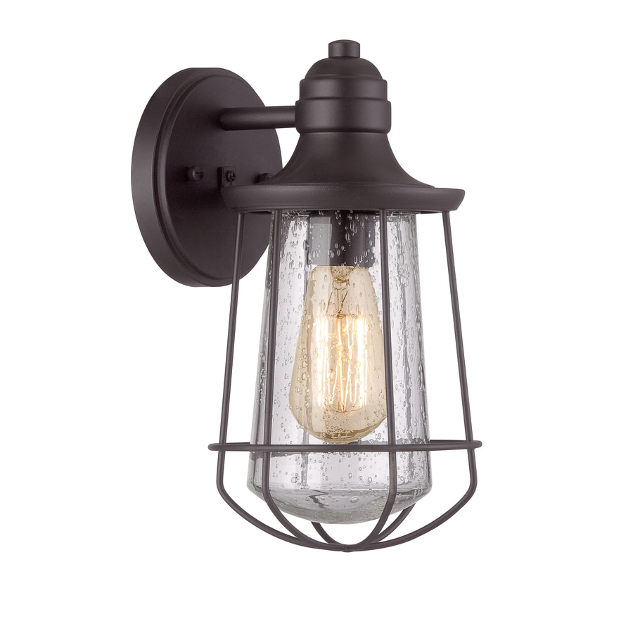 Exterior Wall Sconces Lowes : Shop Portfolio Valdara 11.5-in H Black Outdoor Wall Light ...