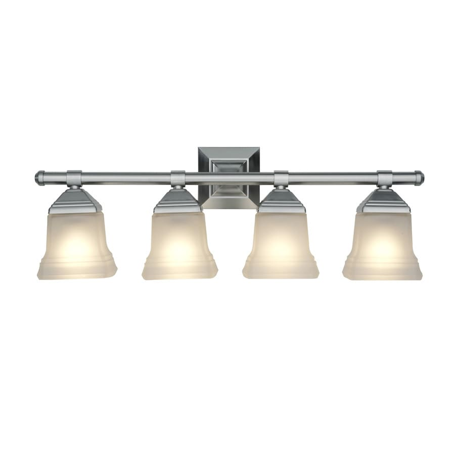 Shop portfolio 4 light 10 4 in brushed nickel bell vanity for Brushed nickel bathroom lighting fixtures