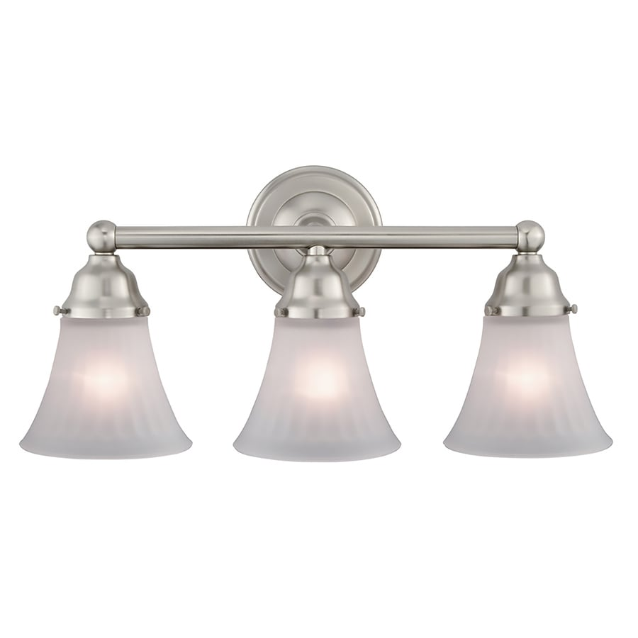 bathroom vanity lighting pictures shop portfolio 3 light 19 9 in brushed nickel bell vanity 17008
