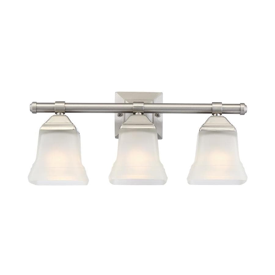 Shop portfolio 3 light 10 4 in brushed nickel vanity light for Bathroom vanity fixtures