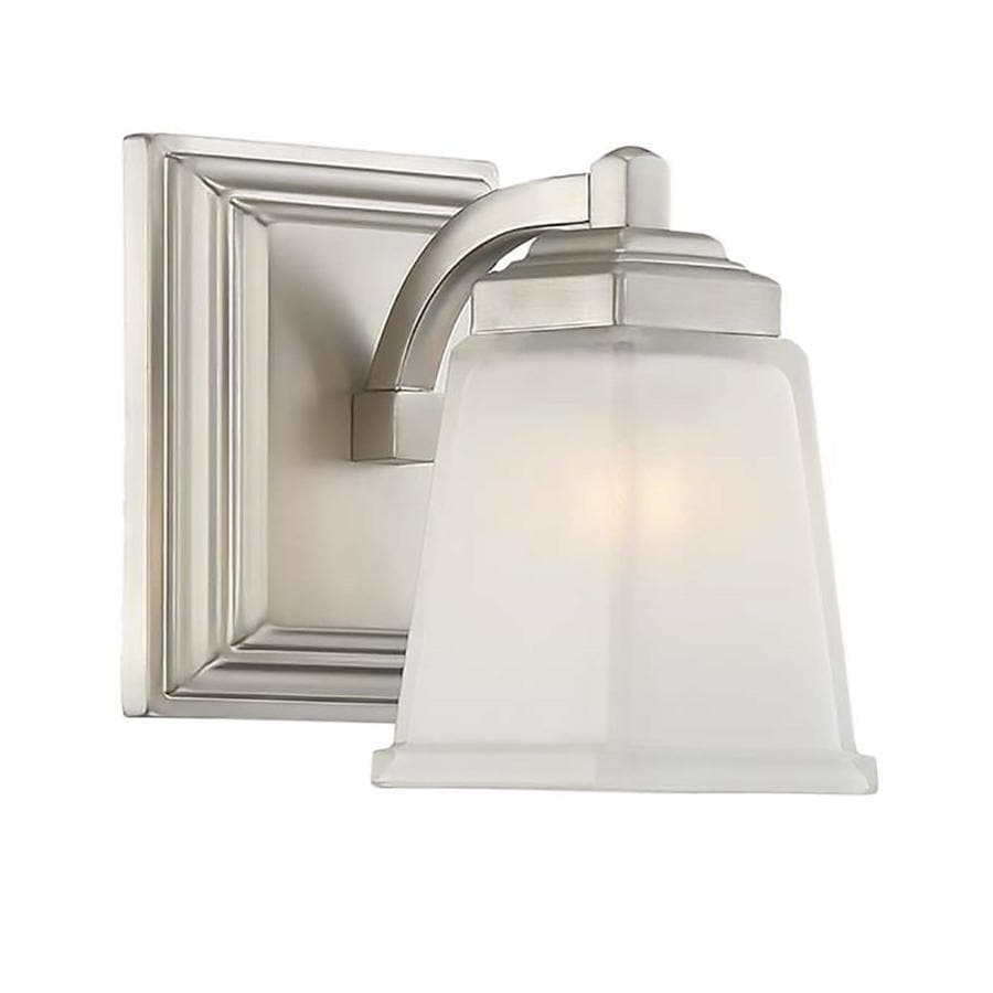 allen + roth Elloree 1-Light 7.25-in Brushed Nickel Square Vanity Light