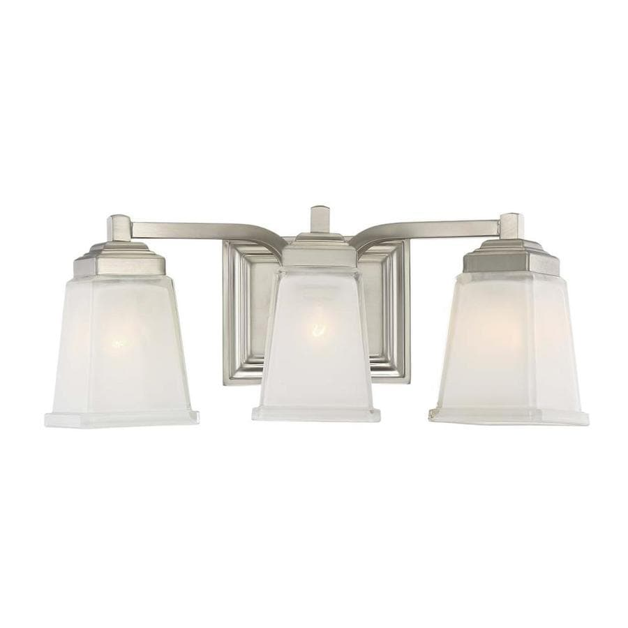 allen + roth Elloree 3-Light 6.75-in Brushed Nickel Square Vanity Light