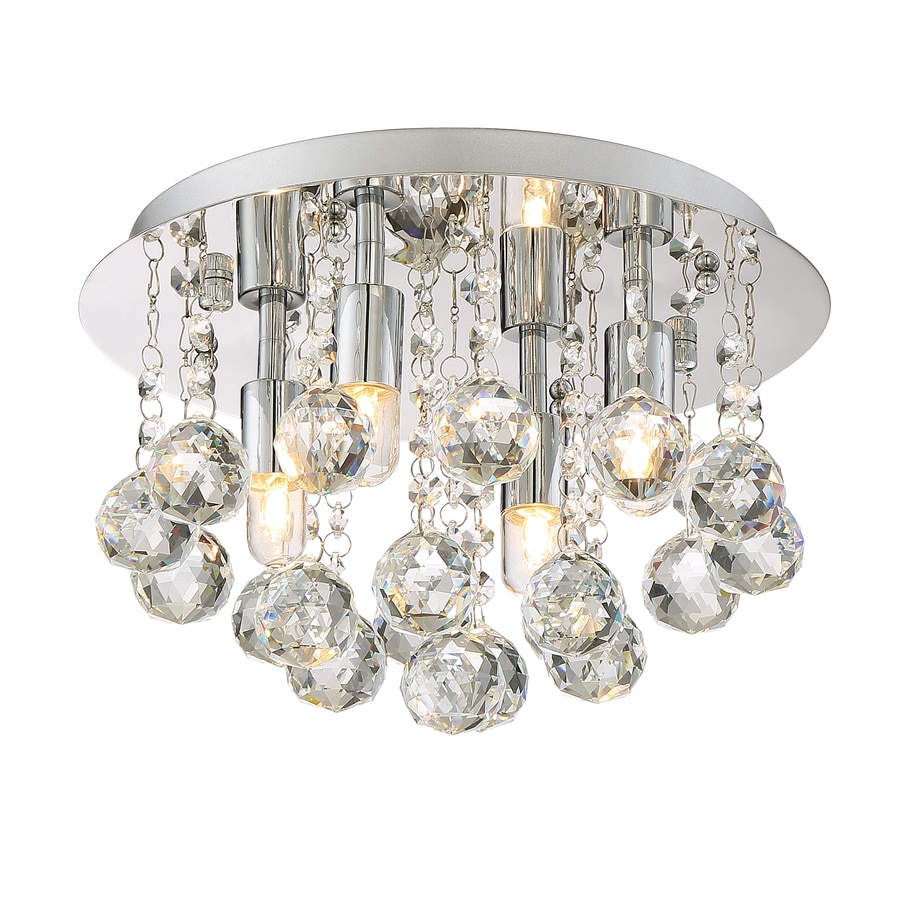 Style Selections 11.75-in W Polished chrome Flush Mount Light