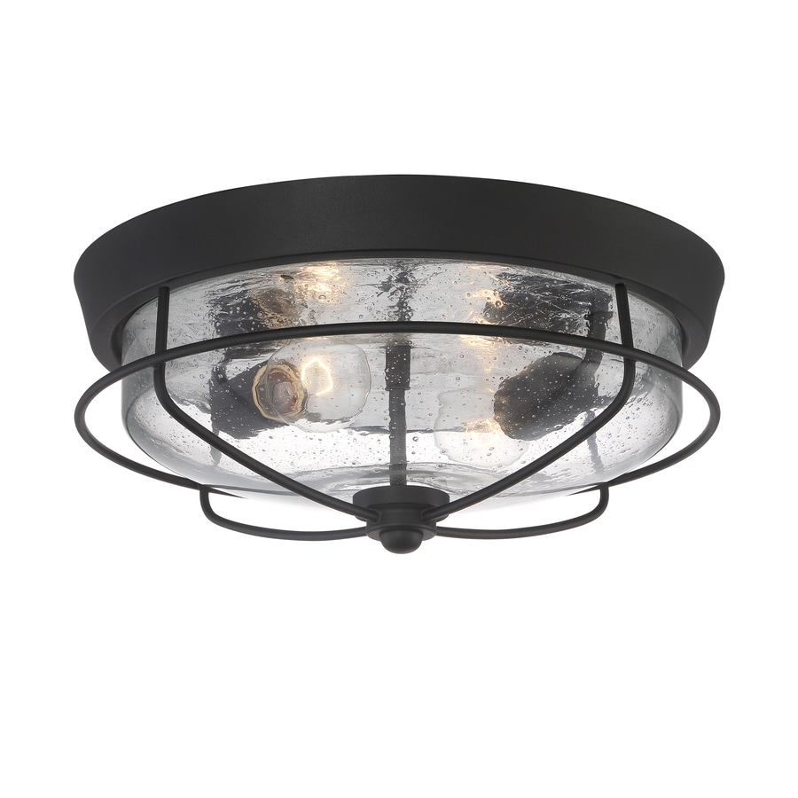 Shop Portfolio Valdara 14 5 In W Matte Black Outdoor Flush Mount Light At Low