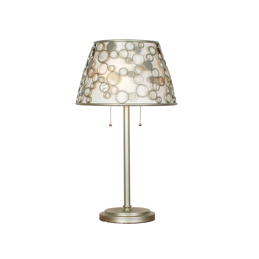 Quoizel Fairgate 27.75-in Silver Standard Table Lamp with Fabric Shade