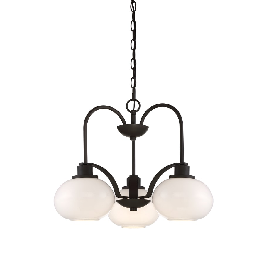 Quoizel Tribeca 22-in 3-Light Bronze Industrial Hardwired Tinted Glass Tiered Chandelier