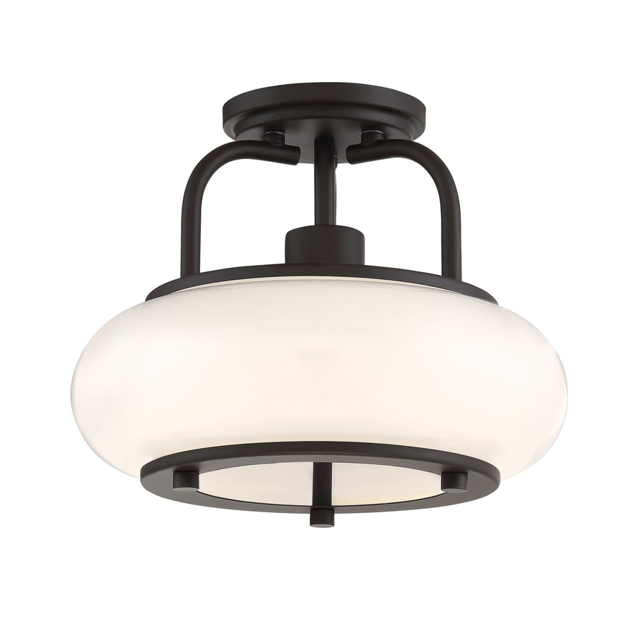 Quoizel Tribeca 12-in W Bronze Opalescent Glass Standard Semi-Flush Mount Light