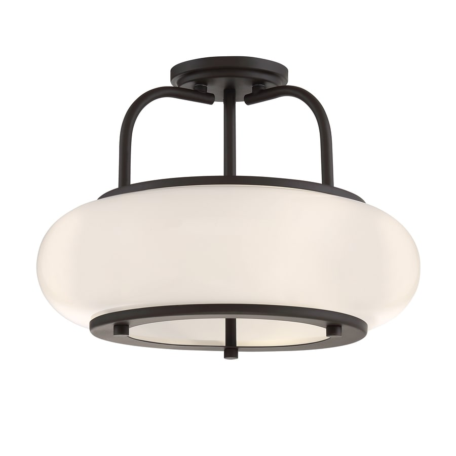 Shop quoizel tribeca 16 in w bronze opalescent glass semi flush quoizel tribeca 16 in w bronze opalescent glass semi flush mount light aloadofball Gallery
