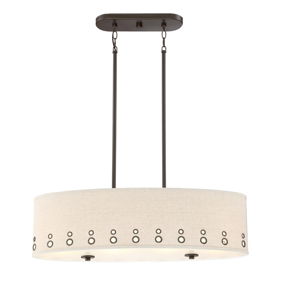 Quoizel Park Avenue 32.875-in W 4-Light Bronze Kitchen Island Light with Fabric Shade