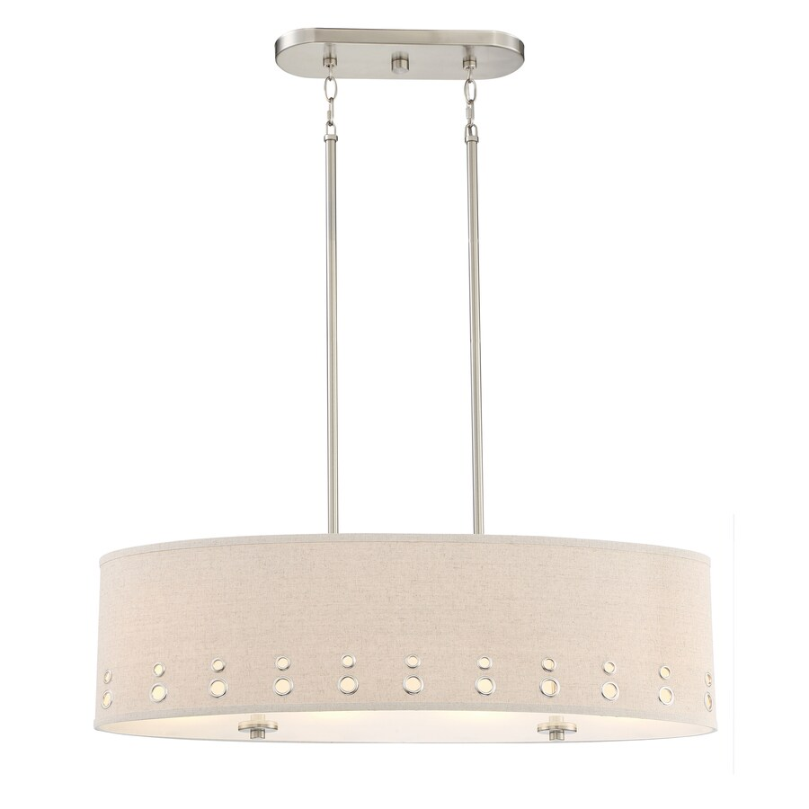 Quoizel Park Avenue 32.875-in W 4-Light Brushed Nickel Kitchen Island Light with Fabric Shade