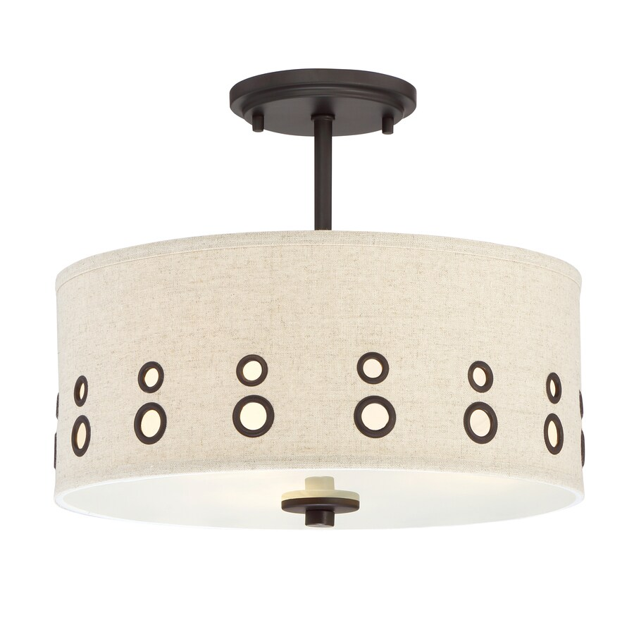 Quoizel Park Avenue 14-in W Bronze Fabric Standard Semi-Flush Mount Light
