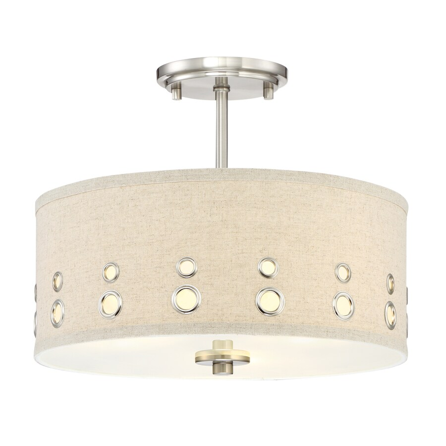 Quoizel Park Avenue 14-in W Brushed Nickel Fabric Semi-Flush Mount Light
