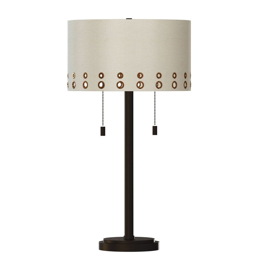 Quoizel Park Avenue 28-in Bronze Indoor Table Lamp with Fabric Shade