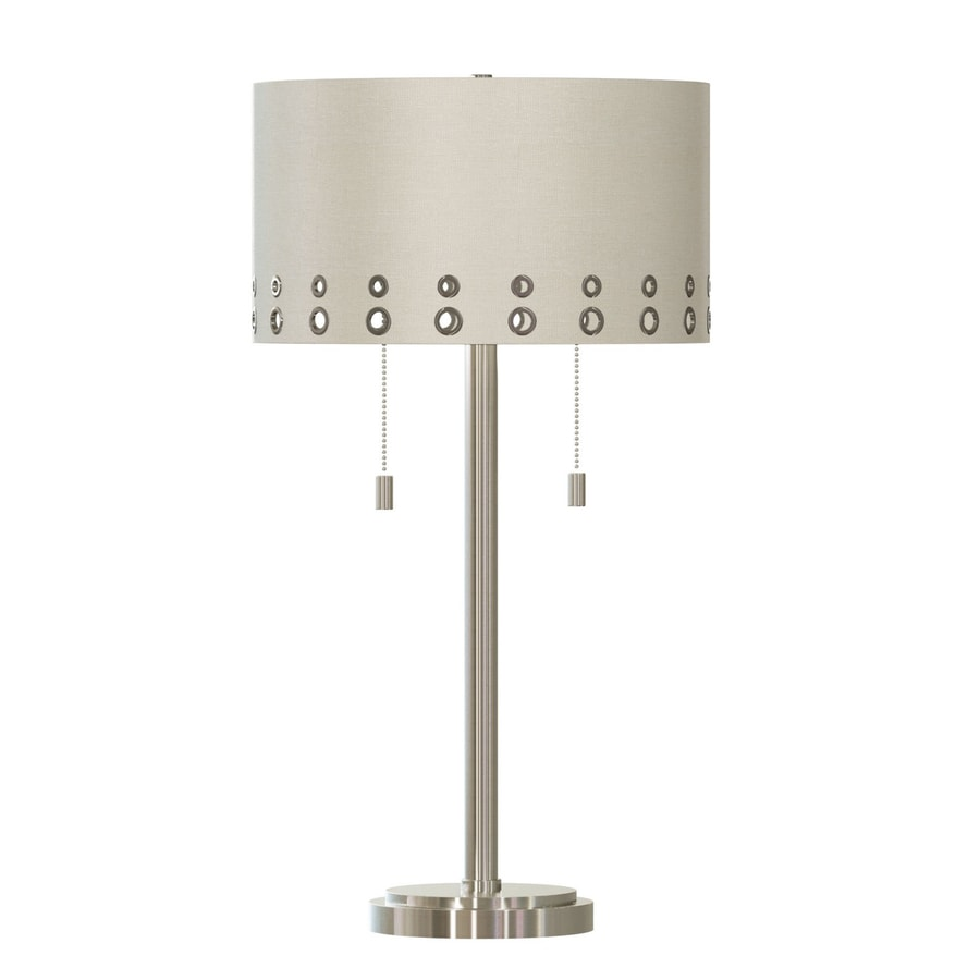 Quoizel Park Avenue 28-in Silver Standard Table Lamp with Fabric Shade