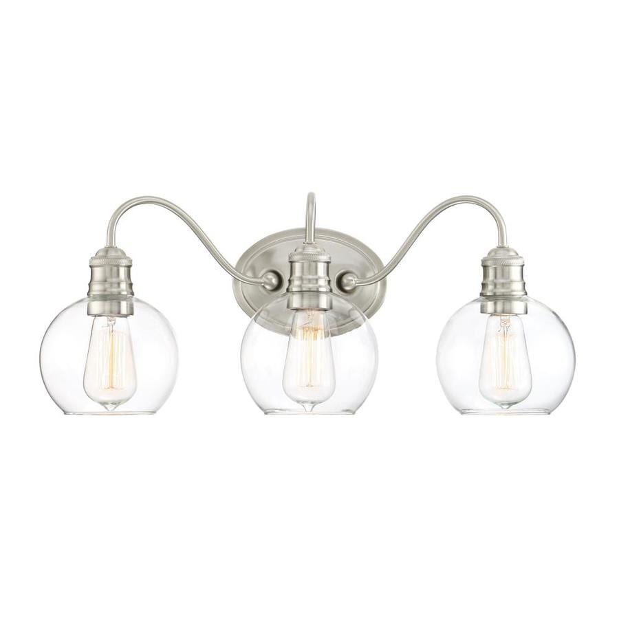 Shop Quoizel Soho 3-Light 9.5-in Brushed Nickel Globe Vanity Light at Lowes.com