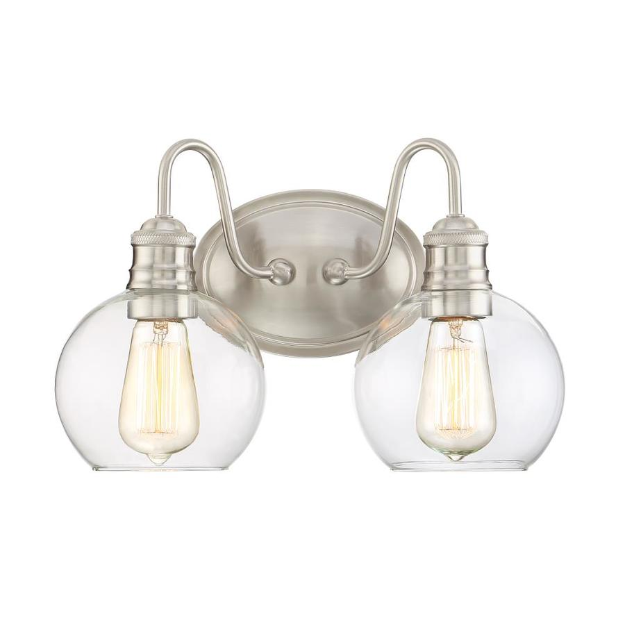 Vanity Light Bulb Sockets : Shop Quoizel Soho 2-Light 9.5-in Brushed Nickel Globe Vanity Light at Lowes.com