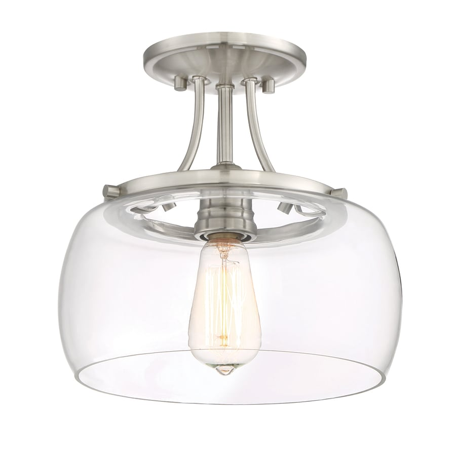 Quoizel Soho 10.62-in W Brushed nickel Clear Glass Semi-Flush Mount Light  sc 1 st  Loweu0027s & Shop Semi-Flush Mount Lights at Lowes.com
