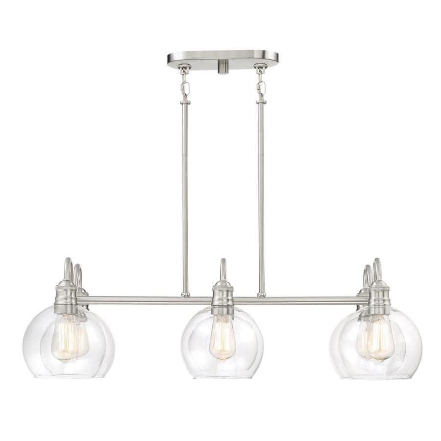 Shop kitchen island lighting at lowes quoizel soho 33125 in w 6 light brushed nickel kitchen island light with clear aloadofball