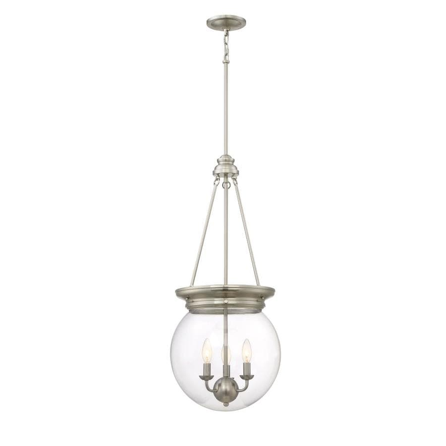 Quoizel Soho 13.5-in Brushed Nickel Industrial Multi-Light Clear Glass Bowl Pendant
