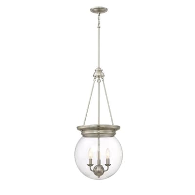 Soho Brushed Nickel Industrial Clear Glass Bowl Pendant Light