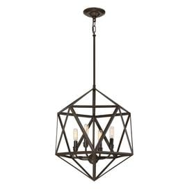 Quoizel Liberty Park 18 In Bronze Industrial Multi Light Geometric Pendant