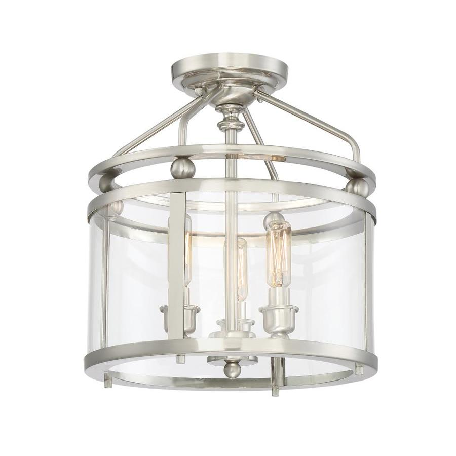 quoizel norfolk 1187in w brushed nickel clear glass semiflush mount light
