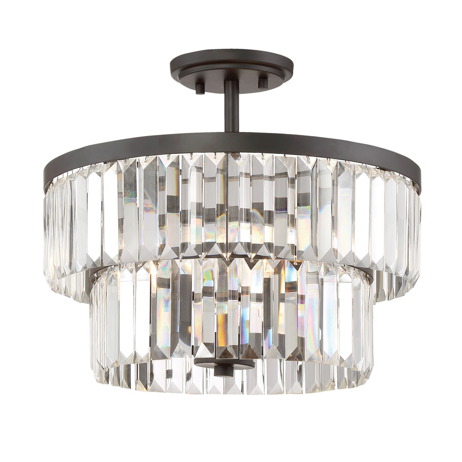 Shop Semi Flush Mount Lights At Wiring A Light Fixture On Loop Quoizel Valentina 155 In W Bronze Clear Glass