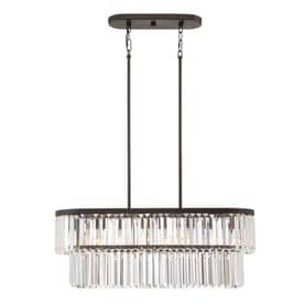 Quoizel Valentina 30-in W 4-Light Painted Bronze Kitchen Island Light with Clear  sc 1 st  Loweu0027s & Shop Kitchen Island Lighting at Lowes.com azcodes.com
