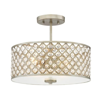Juliana 14 25 In W Gold Etched Gl Semi Flush Mount Light
