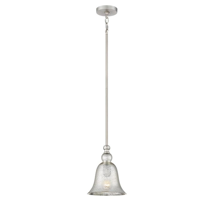 Quoizel Berkeley 8.25-in Brushed Nickel Vintage Hardwired Mini Mercury Glass Bell Pendant