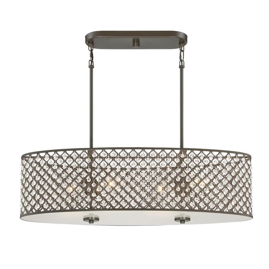 Quoizel Juliana 32.12-in W 4-Light Painted Bronze Kitchen Island Light with Shade