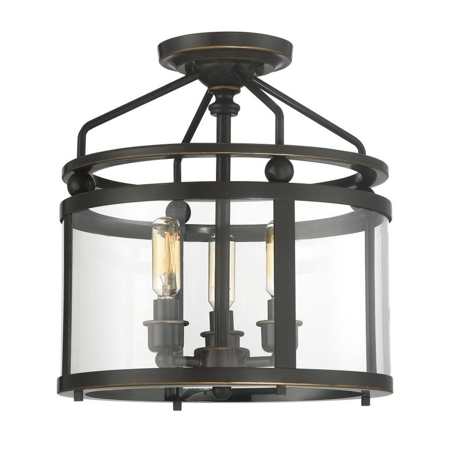 Quoizel Norfolk 11 87 In W Oil Rubbed Bronze Clear Gl Semi Flush Mount Light