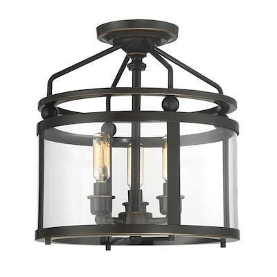 huge discount b5f7c 3033b Norfolk 11.87-in W Oil Rubbed Bronze Clear Glass Semi-Flush Mount Light