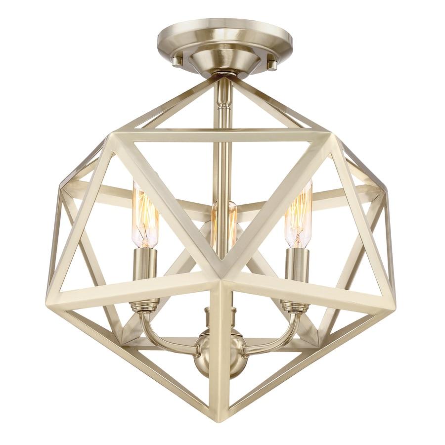 Quoizel Liberty Park 13.125-in W Gold No Glass Semi-Flush Mount Light