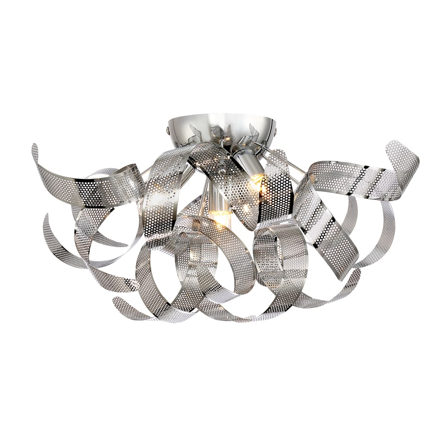Quoizel Lace 16-in W Polished chrome Flush Mount Light