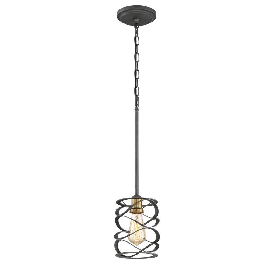Quoizel Unity 6-in Mottled Black with Gold Hardwired Mini Pendant