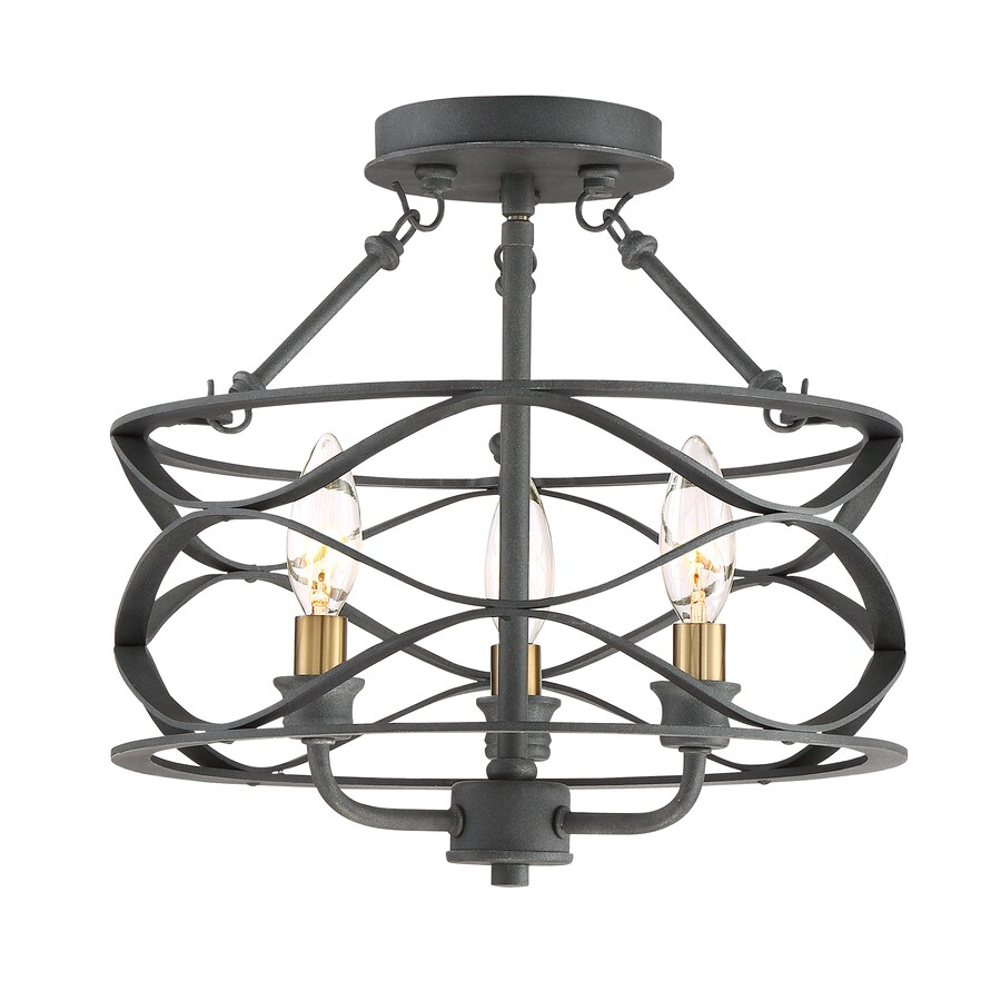 Quoizel Unity 13 In W Mottled Black With Brass No Glass Semi Flush Mount