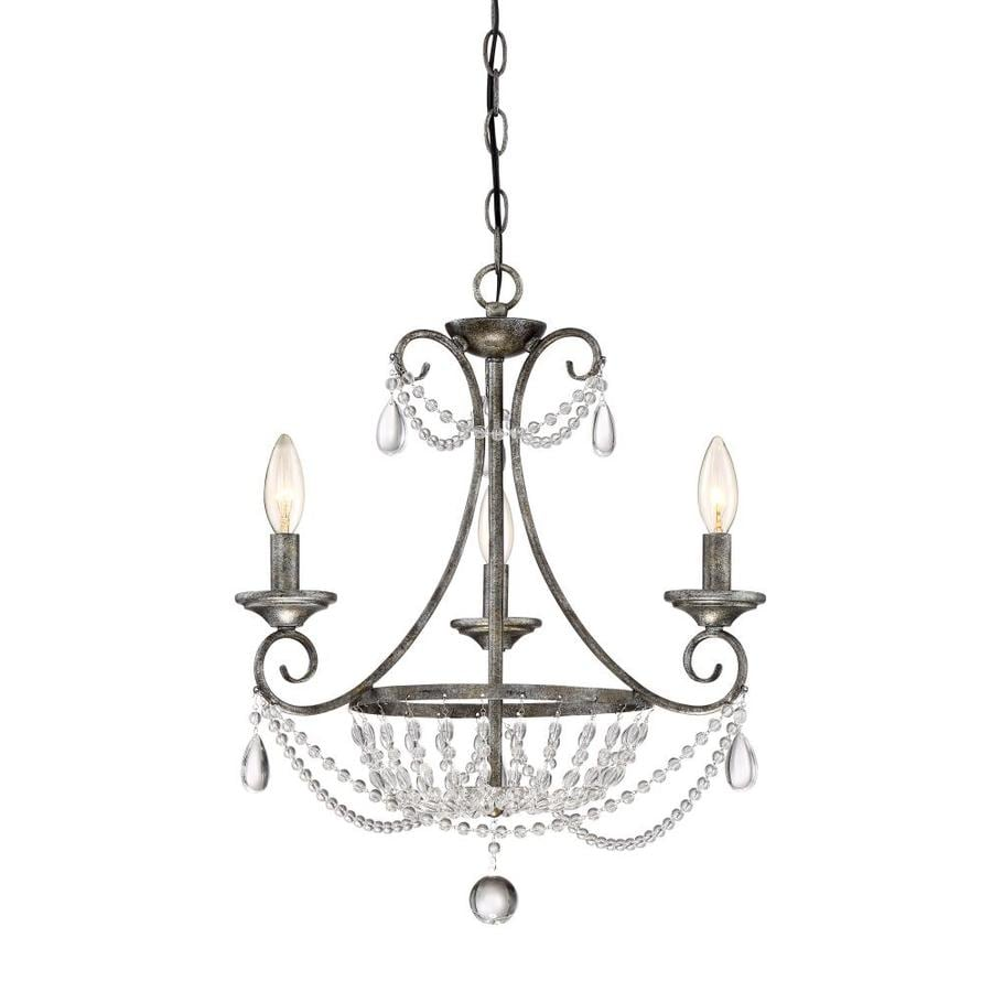 Quoizel Chantal 18.5-in 3-Light Muted Silver Crystal Hardwired Cage Mini Chandelier