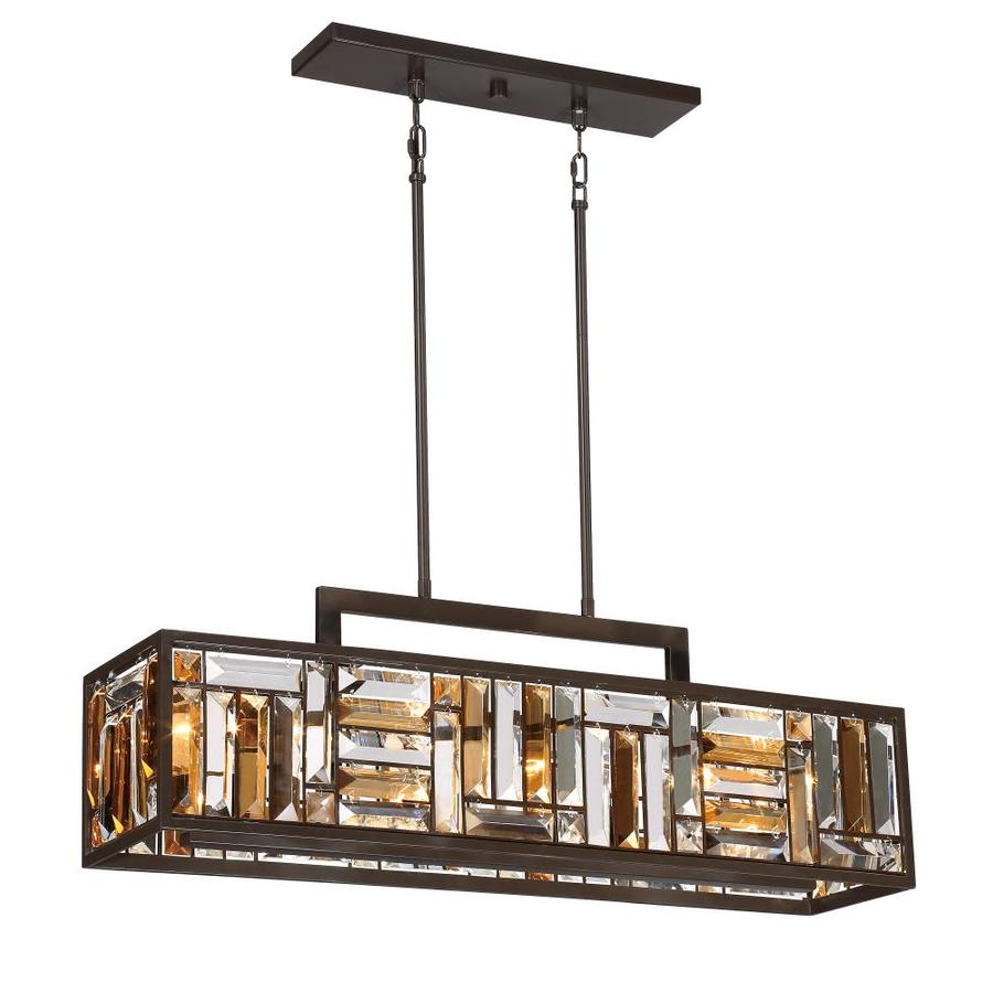 Shop kitchen island lighting at lowes quoizel crossing 825 in w 4 light bronze kitchen island light with tinted shade arubaitofo Image collections