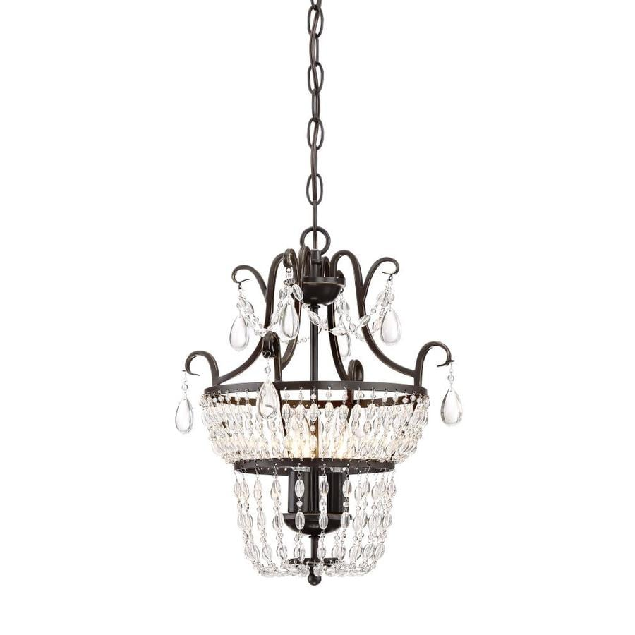 Quoizel Trista 3 Light Oil Rubbed Bronze Crystal Cage Mini Chandelier