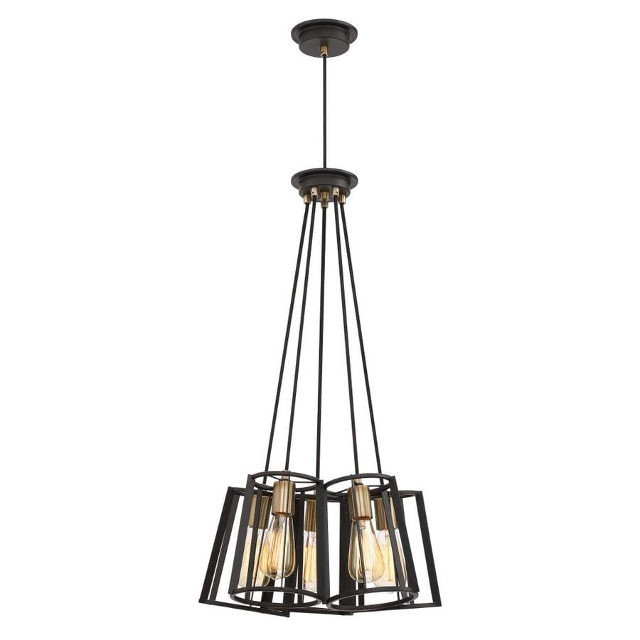 Quoizel Symmetry 17-in Bronze with Gold Hardwired Multi-Light Pendant