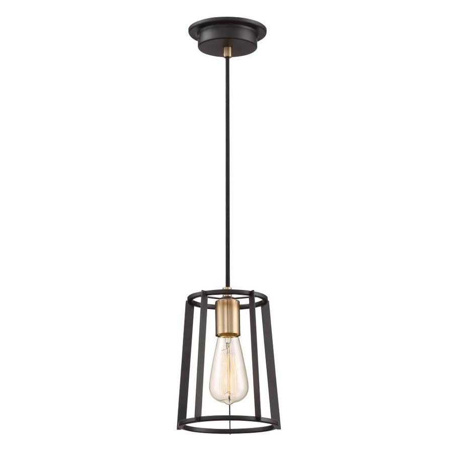 Quoizel Symmetry 7-in Bronze With Gold Hardwired Mini Standard Pendant