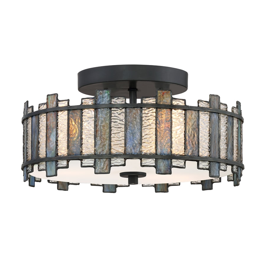 Quoizel sentry 14 in black tiffany style flush mount light