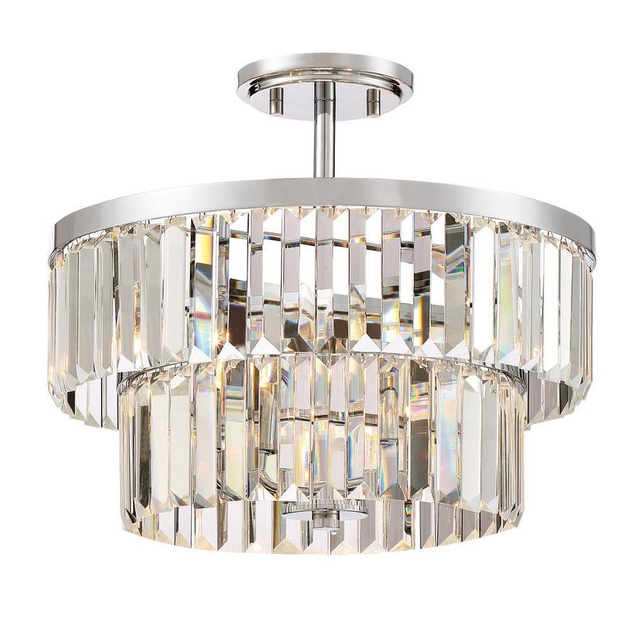 Quoizel Valentina 15.5-in W Polished chrome Clear Glass Semi-Flush Mount Light