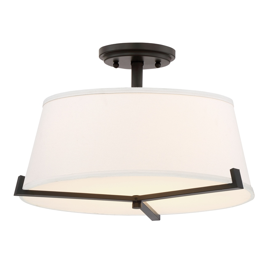 Quoizel South Beach 16-in W Bronze Fabric Semi-Flush Mount Light