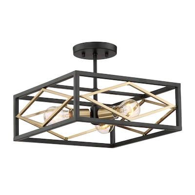 Platform 14 In Black With Gold Contemporary Modern Semi Flush Mount Light