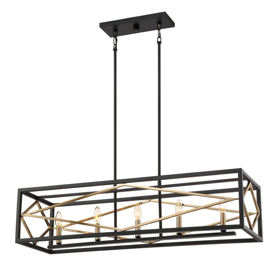 Quoizel Platform 12-in W 5-Light Black with Gold Kitchen Island Light with Shade